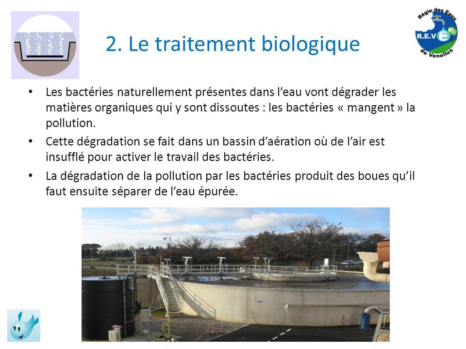 2. Le traitement biologique Les bactéries naturellement présentes dans leau vont dégrader les matières organiques qui y sont dissoutes : les bactéries