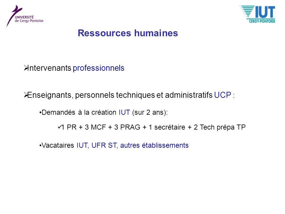 Intervenants professionnels Enseignants, personnels techniques et administratifs UCP : Demandés à la création IUT (sur 2 ans): Vacataires IUT, UFR ST,
