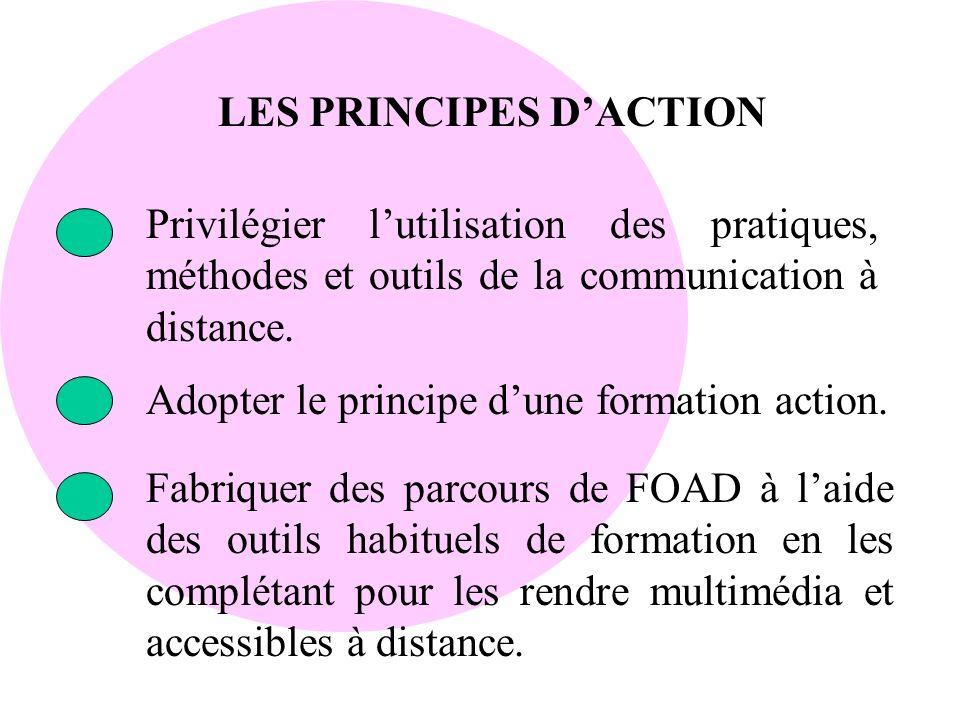 LES PRINCIPES DACTION Privilégier lutilisation des pratiques, méthodes et outils de la communication à distance. Adopter le principe dune formation ac