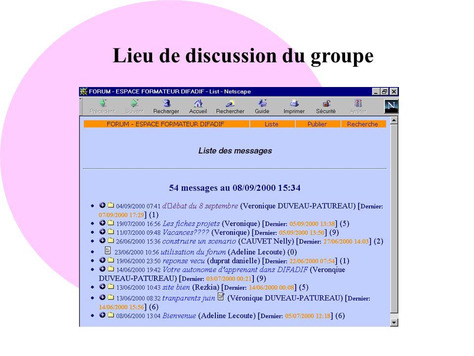 Lieu de discussion du groupe
