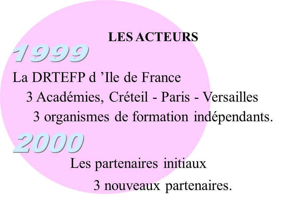 LES ACTEURS 3 Académies, Créteil - Paris - Versailles La DRTEFP d Ile de France 3 organismes de formation indépendants. Les partenaires initiaux 3 nou