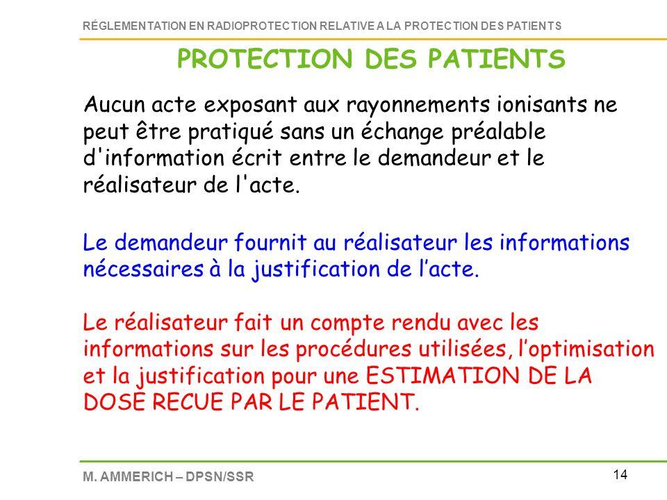 14 RÉGLEMENTATION EN RADIOPROTECTION RELATIVE A LA PROTECTION DES PATIENTS M. AMMERICH – DPSN/SSR Aucun acte exposant aux rayonnements ionisants ne pe