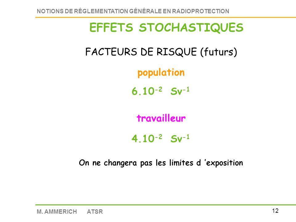 11 NOTIONS DE RÉGLEMENTATION GÉNÉRALE EN RADIOPROTECTION M. AMMERICH ATSR EFFETS STOCHASTIQUES