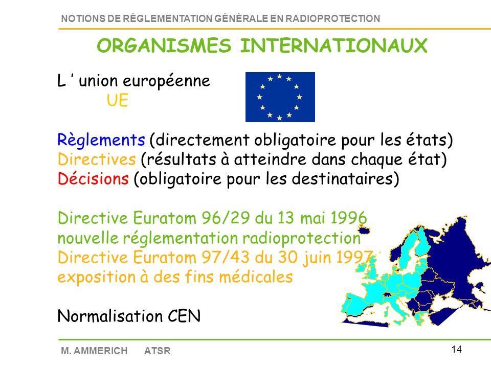 13 NOTIONS DE RÉGLEMENTATION GÉNÉRALE EN RADIOPROTECTION M.