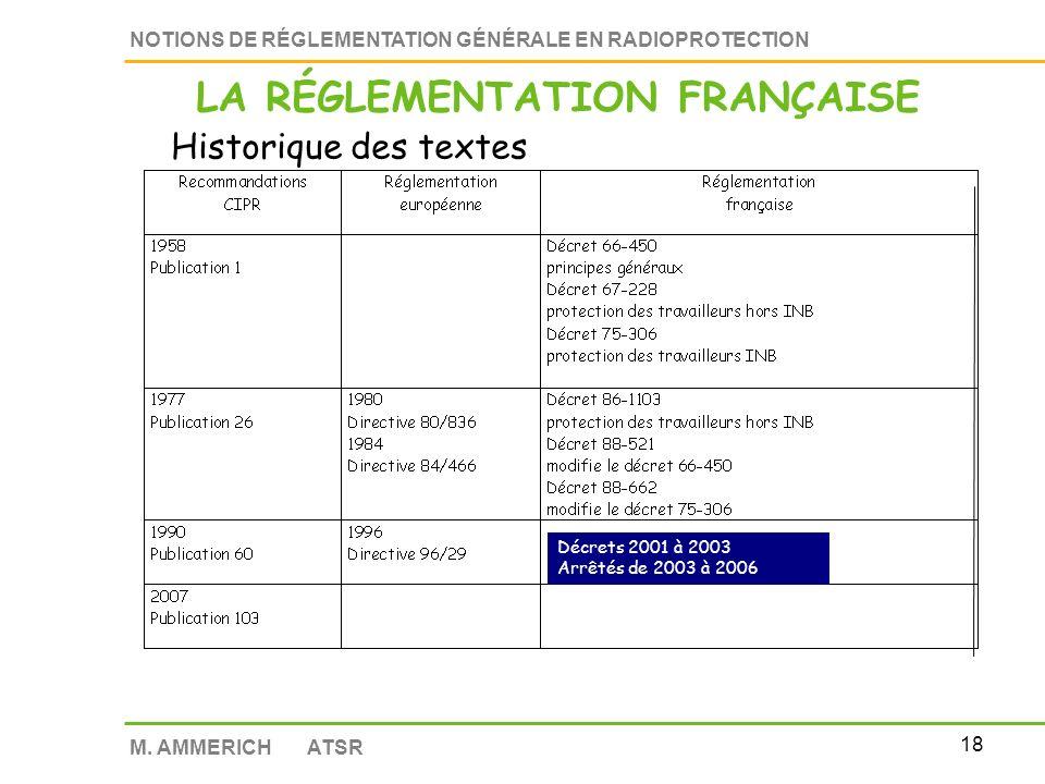 17 NOTIONS DE RÉGLEMENTATION GÉNÉRALE EN RADIOPROTECTION M. AMMERICH ATSR RECOMMANDATIONS C.I.P.R DIRECTIVES EUROPEENNES LEGISLATION FRANCAISE LOIS DE