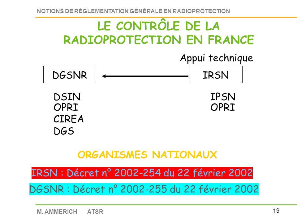 18 NOTIONS DE RÉGLEMENTATION GÉNÉRALE EN RADIOPROTECTION M. AMMERICH ATSR Historique des textes Décrets 2001 à 2003 Arrêtés de 2003 à 2006 LA RÉGLEMEN