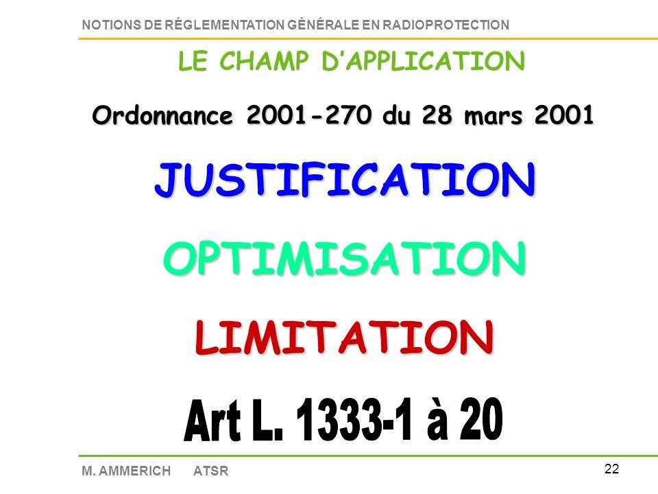 21 NOTIONS DE RÉGLEMENTATION GÉNÉRALE EN RADIOPROTECTION M.