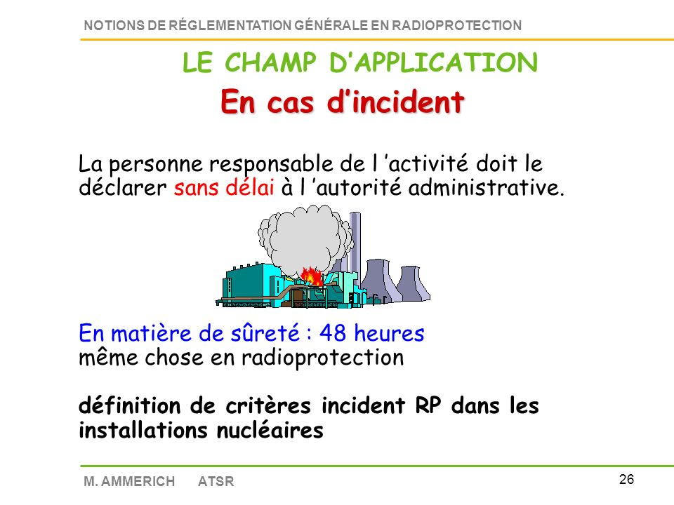 25 NOTIONS DE RÉGLEMENTATION GÉNÉRALE EN RADIOPROTECTION M. AMMERICH ATSR INTERDICTION Addition de substances radioactives LE CHAMP DAPPLICATION