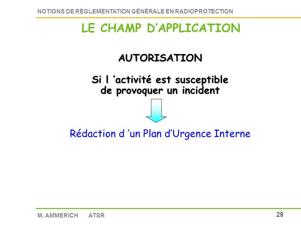 28 NOTIONS DE RÉGLEMENTATION GÉNÉRALE EN RADIOPROTECTION M. AMMERICH ATSR Régime dautorisation et de déclaration Suspension de l activité en cas de vi