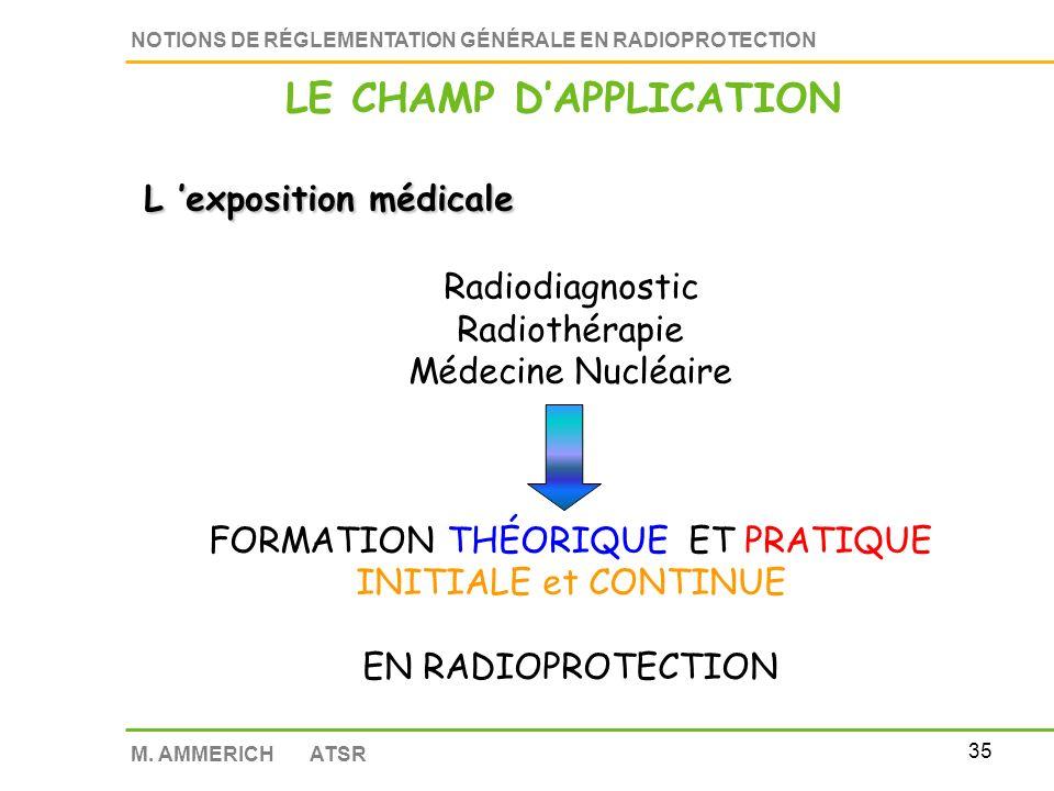 34 NOTIONS DE RÉGLEMENTATION GÉNÉRALE EN RADIOPROTECTION M. AMMERICH ATSR L exposition médicale Expositions reçues par le personnel médical = Expositi