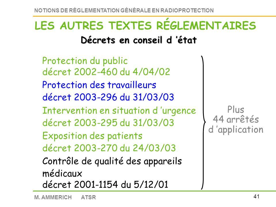 40 NOTIONS DE RÉGLEMENTATION GÉNÉRALE EN RADIOPROTECTION M.