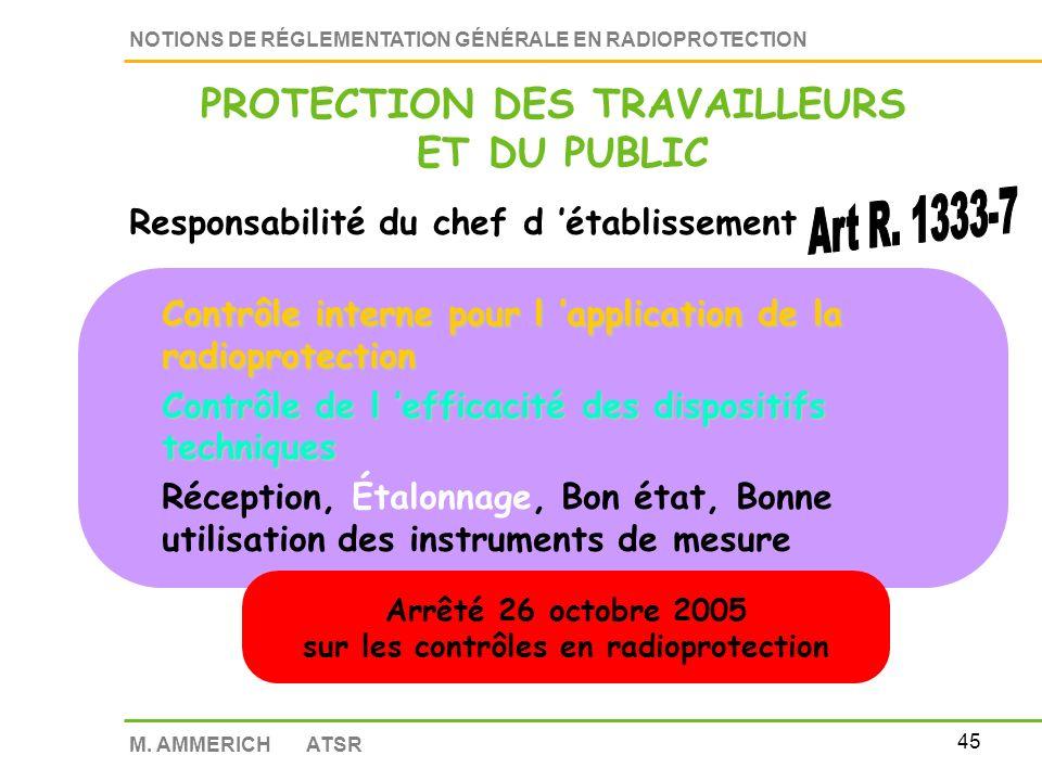 44 NOTIONS DE RÉGLEMENTATION GÉNÉRALE EN RADIOPROTECTION M. AMMERICH ATSR Responsabilité du chef d établissement Mesures générales de prévention des a