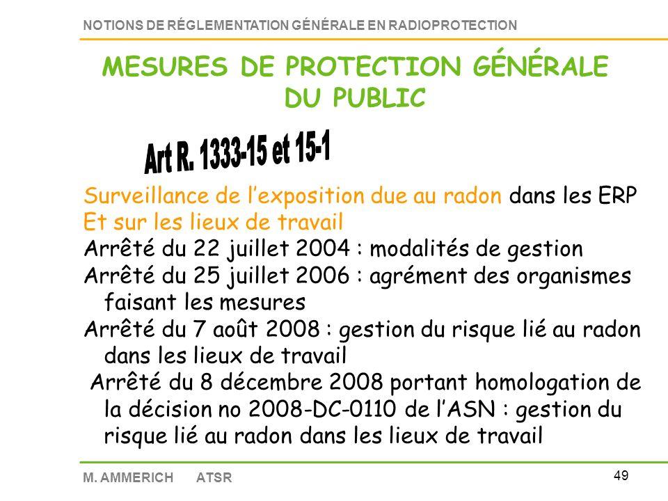 48 NOTIONS DE RÉGLEMENTATION GÉNÉRALE EN RADIOPROTECTION M. AMMERICH ATSR Effluents et déchets contaminés sont collectés, traités et éliminés suivant