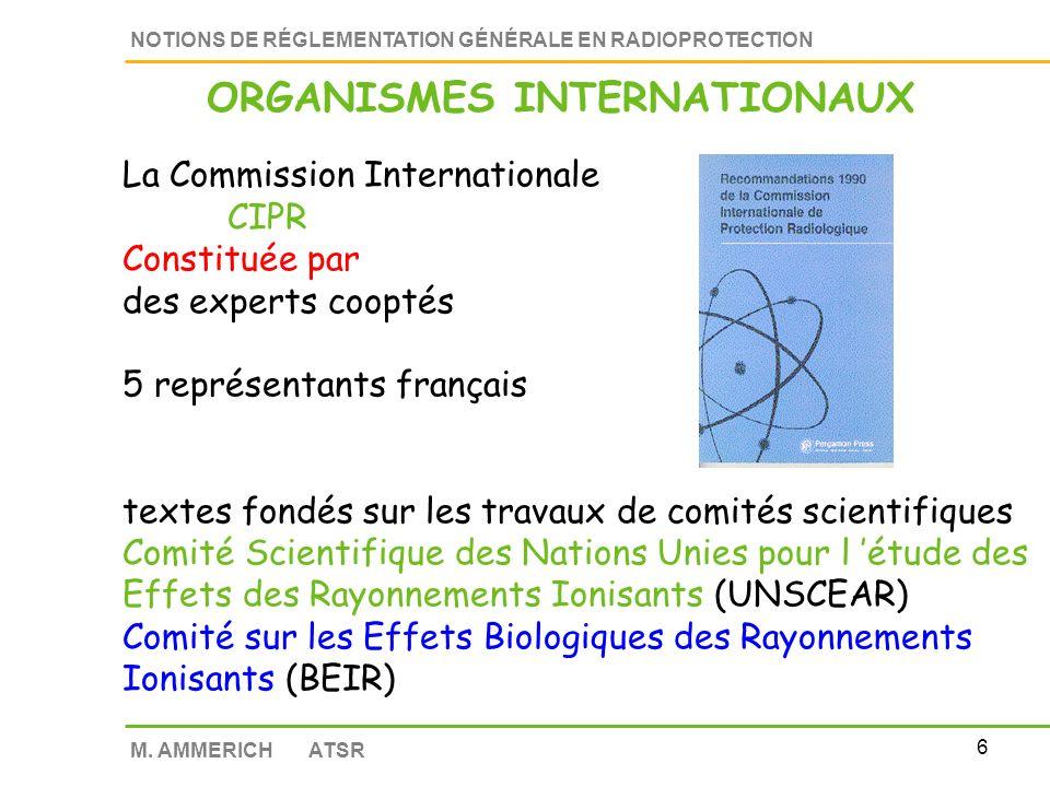 5 NOTIONS DE RÉGLEMENTATION GÉNÉRALE EN RADIOPROTECTION M.