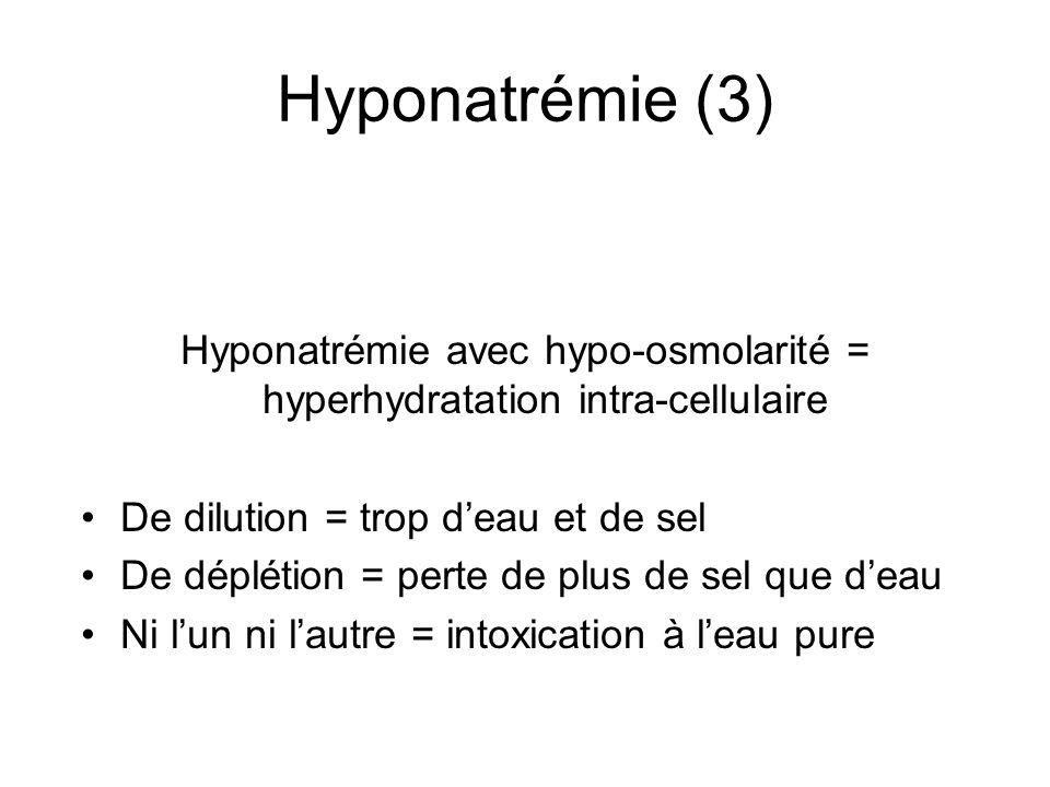 Hyponatrémie (3) Hyponatrémie avec hypo-osmolarité = hyperhydratation intra-cellulaire De dilution = trop deau et de sel De déplétion = perte de plus