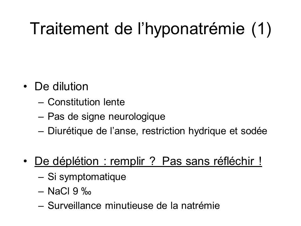 Traitement de lhyponatrémie (1) De dilution –Constitution lente –Pas de signe neurologique –Diurétique de lanse, restriction hydrique et sodée De dépl