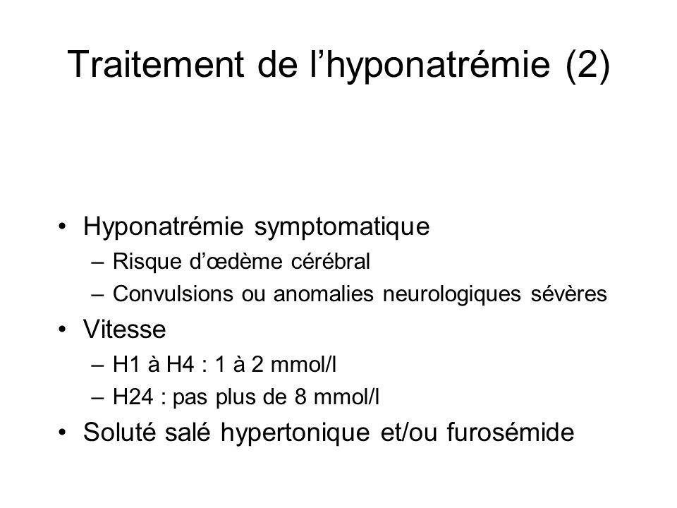 Traitement de lhyponatrémie (2) Hyponatrémie symptomatique –Risque dœdème cérébral –Convulsions ou anomalies neurologiques sévères Vitesse –H1 à H4 :