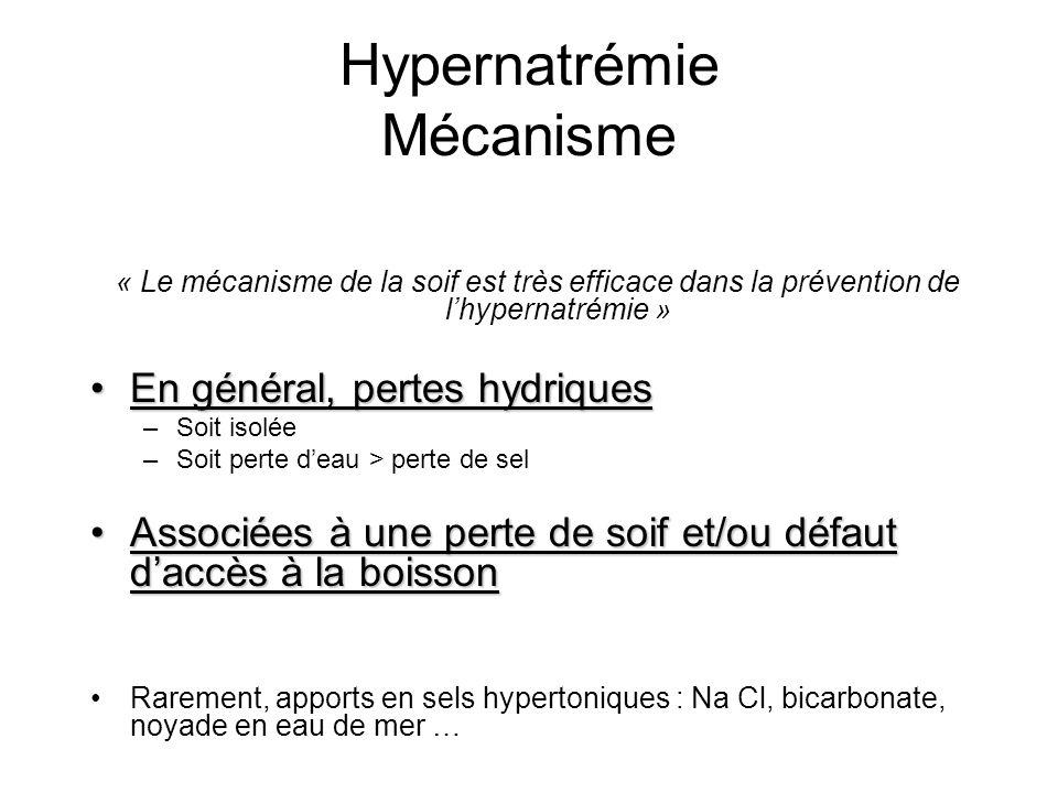 Hypernatrémie Mécanisme « Le mécanisme de la soif est très efficace dans la prévention de lhypernatrémie » En général, pertes hydriquesEn général, per