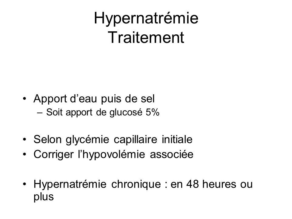 Hypernatrémie Traitement Apport deau puis de sel –Soit apport de glucosé 5% Selon glycémie capillaire initiale Corriger lhypovolémie associée Hypernat