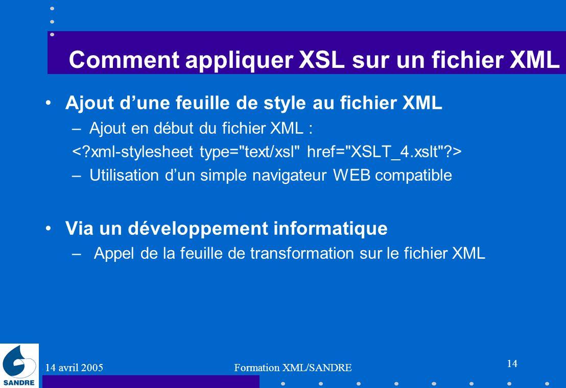 14 avril 2005 Formation XML/SANDRE 14 Comment appliquer XSL sur un fichier XML Ajout dune feuille de style au fichier XML –Ajout en début du fichier X