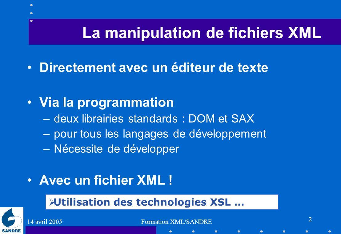 14 avril 2005 Formation XML/SANDRE 2 La manipulation de fichiers XML Directement avec un éditeur de texte Via la programmation –deux librairies standa