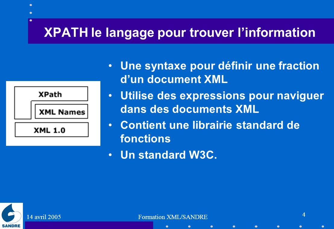 14 avril 2005 Formation XML/SANDRE 4 XPATH le langage pour trouver linformation Une syntaxe pour définir une fraction dun document XML Utilise des exp