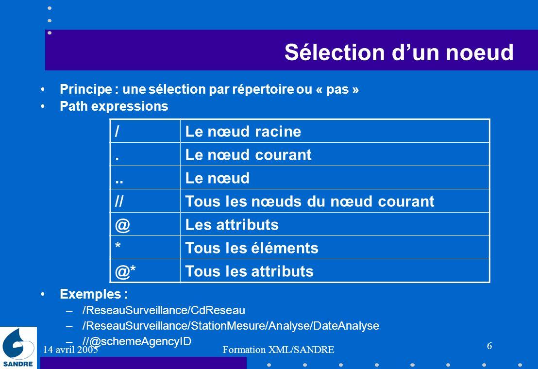14 avril 2005 Formation XML/SANDRE 6 Sélection dun noeud Principe : une sélection par répertoire ou « pas » Path expressions Exemples : –/ReseauSurvei