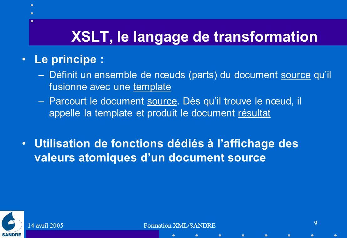 14 avril 2005 Formation XML/SANDRE 9 XSLT, le langage de transformation Le principe : –Définit un ensemble de nœuds (parts) du document source quil fu