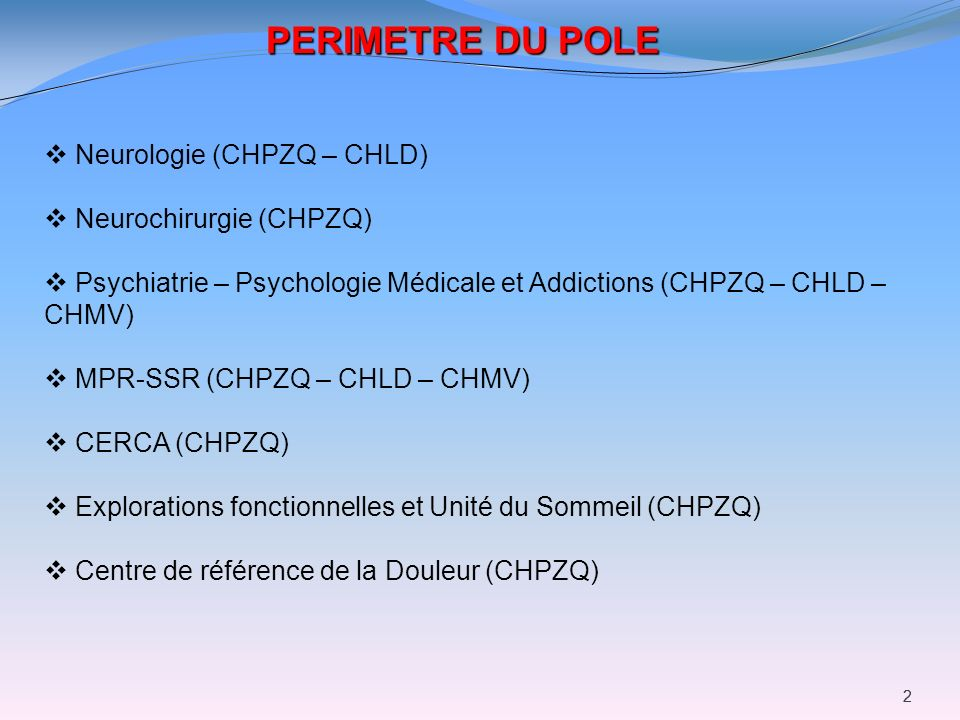 22 PERIMETRE DU POLE Neurologie (CHPZQ – CHLD) Neurochirurgie (CHPZQ) Psychiatrie – Psychologie Médicale et Addictions (CHPZQ – CHLD – CHMV) MPR-SSR (
