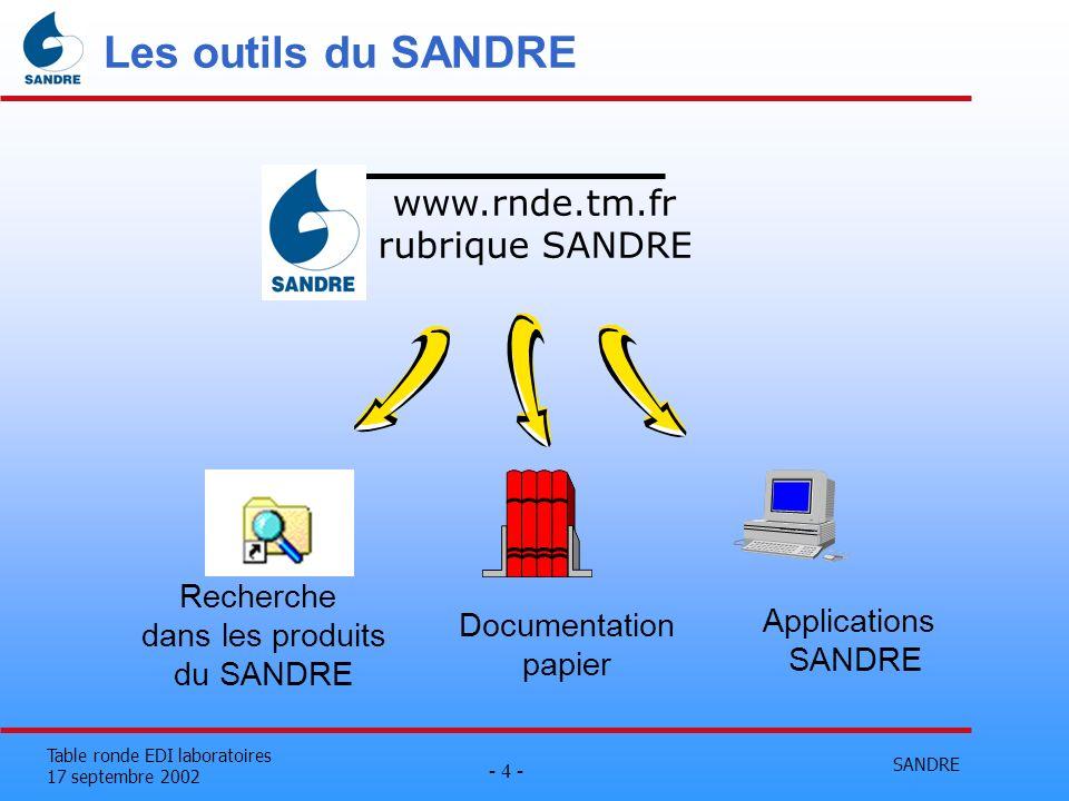 SANDRE - 4 - Table ronde EDI laboratoires 17 septembre 2002 Les outils du SANDRE www.rnde.tm.fr rubrique SANDRE Documentation papier Applications SAND