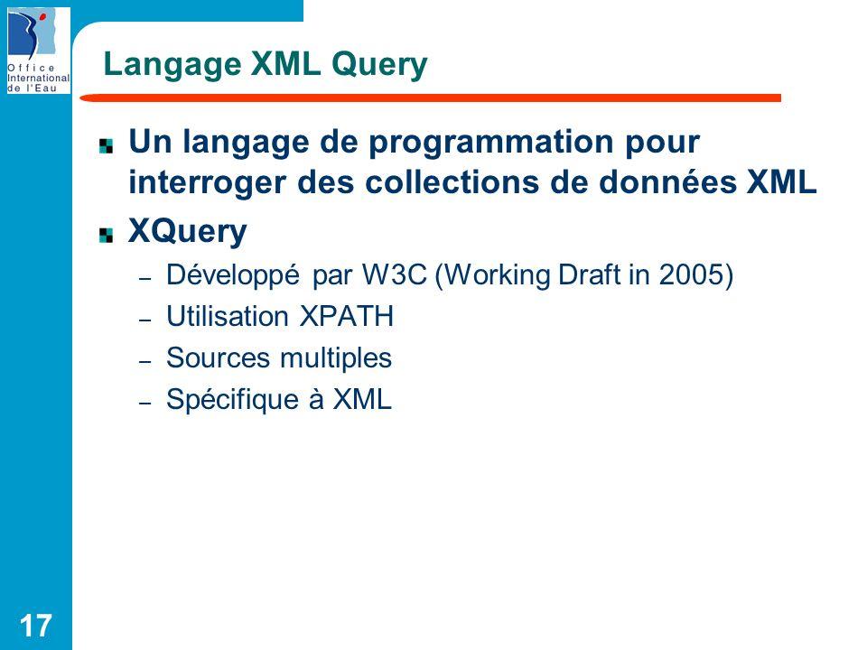 17 Langage XML Query Un langage de programmation pour interroger des collections de données XML XQuery – Développé par W3C (Working Draft in 2005) – U