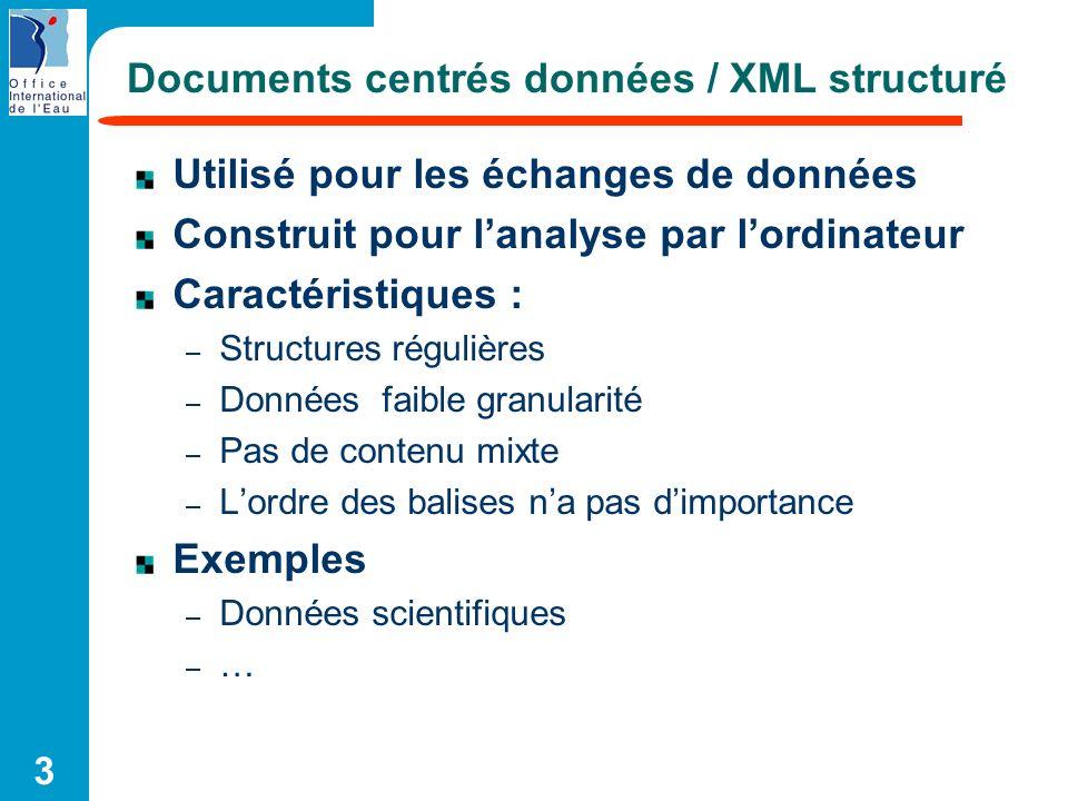 3 Documents centrés données / XML structuré Utilisé pour les échanges de données Construit pour lanalyse par lordinateur Caractéristiques : – Structur