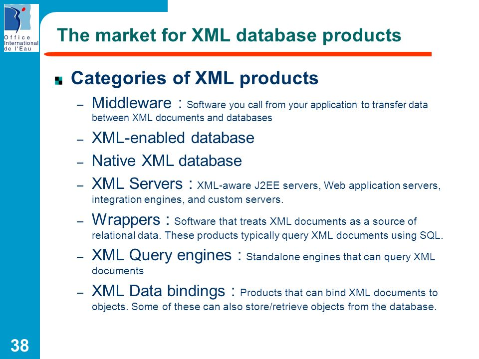 38 The market for XML database products Categories of XML products – Middleware : Software you call from your application to transfer data between XML