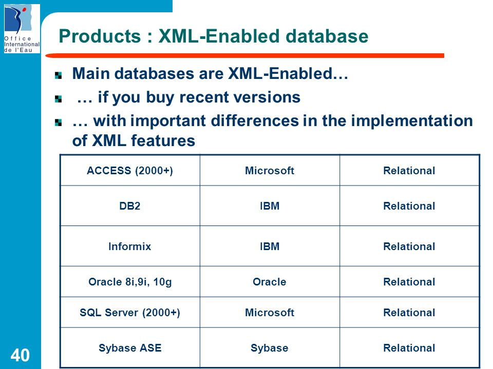40 Products : XML-Enabled database Main databases are XML-Enabled… … if you buy recent versions … with important differences in the implementation of