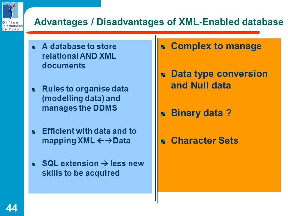 44 Advantages / Disadvantages of XML-Enabled database A database to store relational AND XML documents Rules to organise data (modelling data) and man