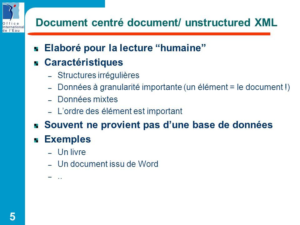 5 Document centré document/ unstructured XML Elaboré pour la lecture humaine Caractéristiques – Structures irrégulières – Données à granularité import