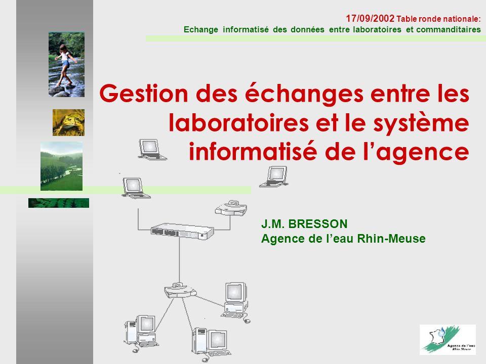 J.M. BRESSON Agence de leau Rhin-Meuse 17/09/2002 Table ronde nationale: Echange informatisé des données entre laboratoires et commanditaires Gestion