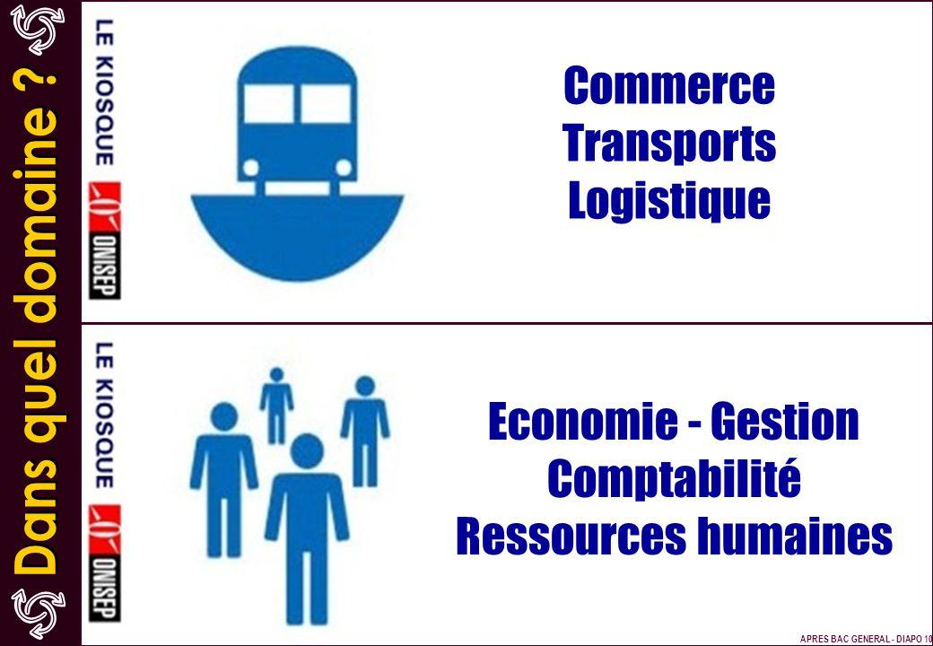 Commerce Transports Logistique Economie - Gestion Comptabilité Ressources humaines APRES BAC GENERAL - DIAPO 10