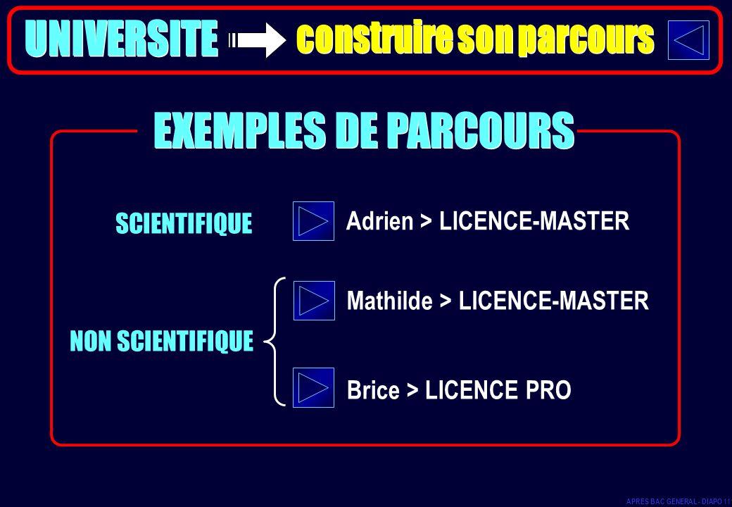 SCIENTIFIQUE NON SCIENTIFIQUE Adrien > LICENCE-MASTER Mathilde > LICENCE-MASTER Brice > LICENCE PRO EXEMPLES DE PARCOURS APRES BAC GENERAL - DIAPO 111