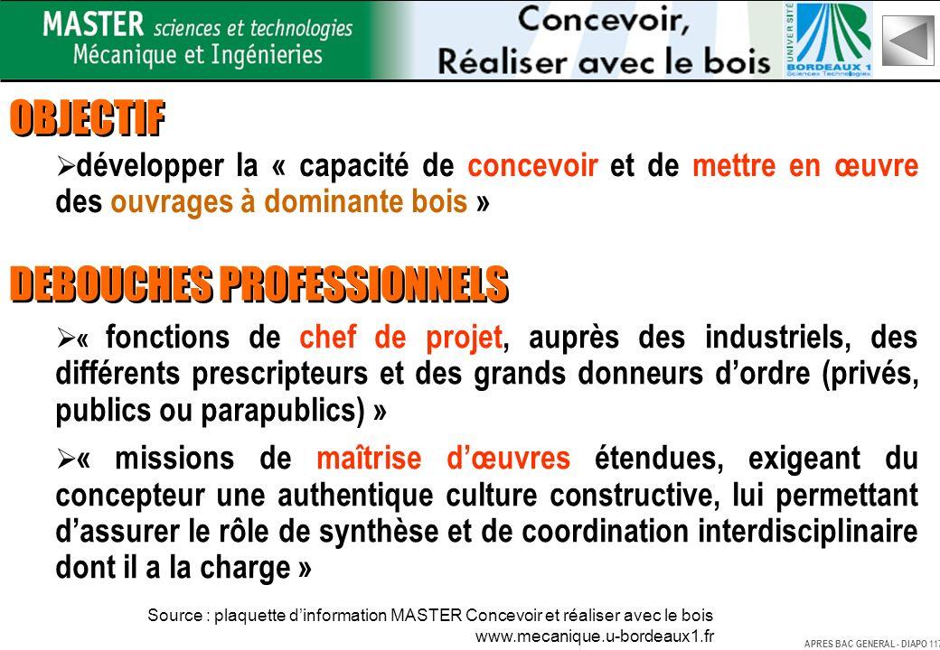 OBJECTIF développer la « capacité de concevoir et de mettre en œuvre des ouvrages à dominante bois » DEBOUCHES PROFESSIONNELS « fonctions de chef de p