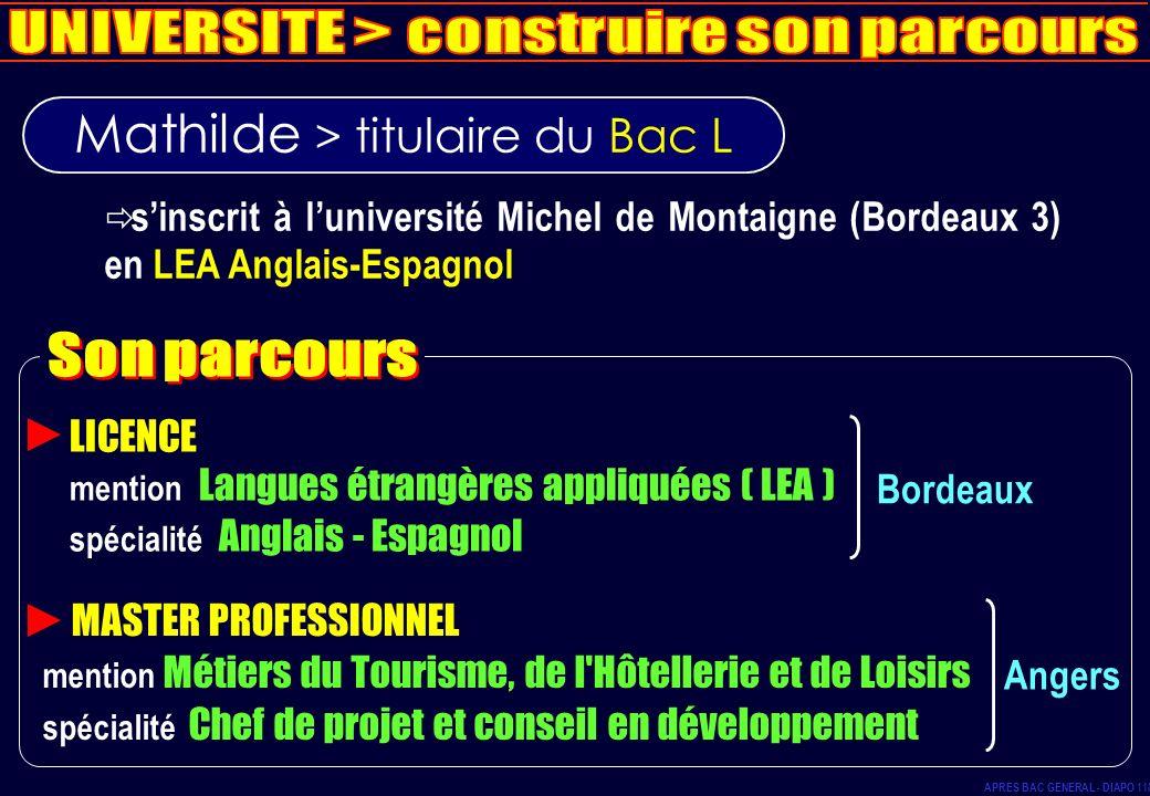 Mathilde > titulaire du Bac L sinscrit à luniversité Michel de Montaigne (Bordeaux 3) en LEA Anglais-Espagnol LICENCE mention Langues étrangères appli