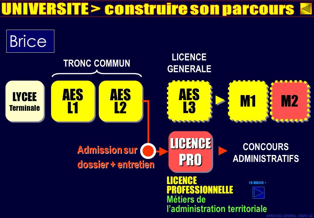 AES L1 AES L1 LYCEE Terminale LYCEE Terminale AES L2 AES L2 TRONC COMMUN AES L3 AES L3 LICENCE GENERALE M1 M2 CONCOURS ADMINISTRATIFS LICENCE PROFESSI
