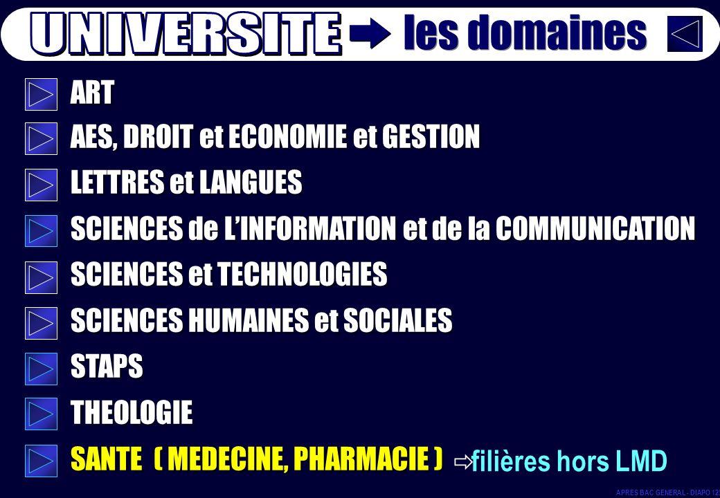 ART AES, DROIT et ECONOMIE et GESTION LETTRES et LANGUES SCIENCES de LINFORMATION et de la COMMUNICATION SCIENCES et TECHNOLOGIES SCIENCES HUMAINES et