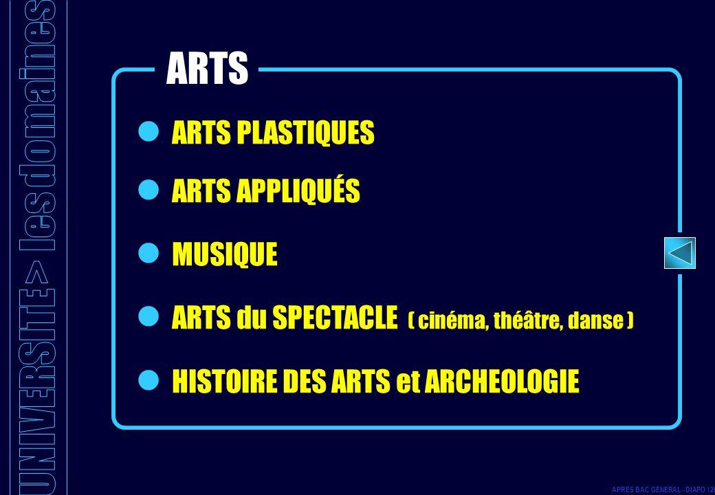 ARTS PLASTIQUES ARTS APPLIQUÉS MUSIQUE ARTS du SPECTACLE ( cinéma, théâtre, danse ) HISTOIRE DES ARTS et ARCHEOLOGIE ARTS APRES BAC GENERAL - DIAPO 12