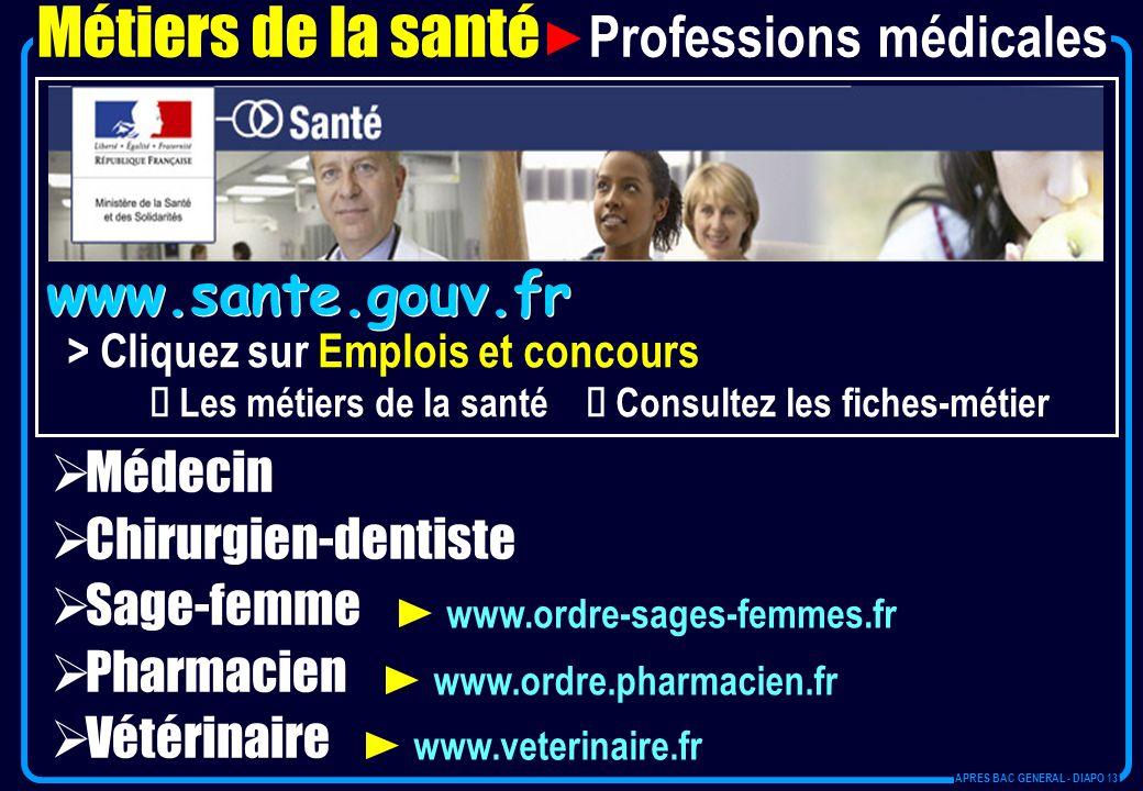 www.sante.gouv.fr > Cliquez sur Emplois et concours Les métiers de la santé Consultez les fiches-métier Métiers de la santé Professions médicales Méde