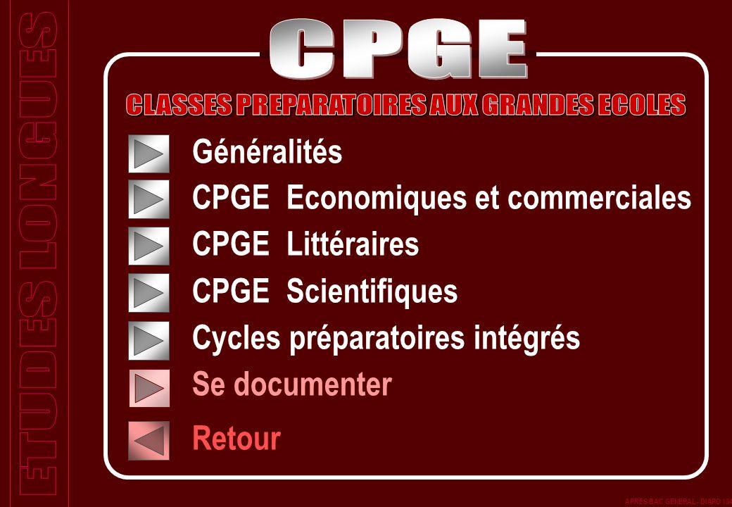 Généralités CPGE Economiques et commerciales CPGE Littéraires CPGE Scientifiques Cycles préparatoires intégrés Se documenter Retour APRES BAC GENERAL