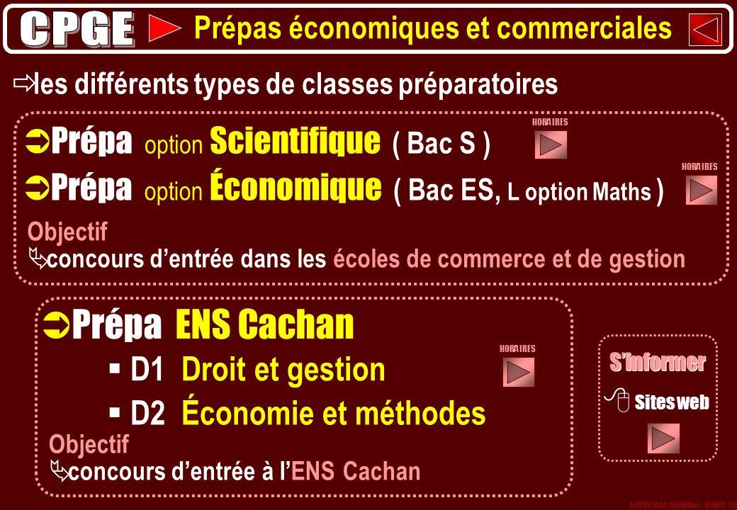 Prépa option Économique ( Bac ES, L option Maths ) Prépa ENS Cachan D1 Droit et gestion D2 Économie et méthodes Prépa option Scientifique ( Bac S ) le