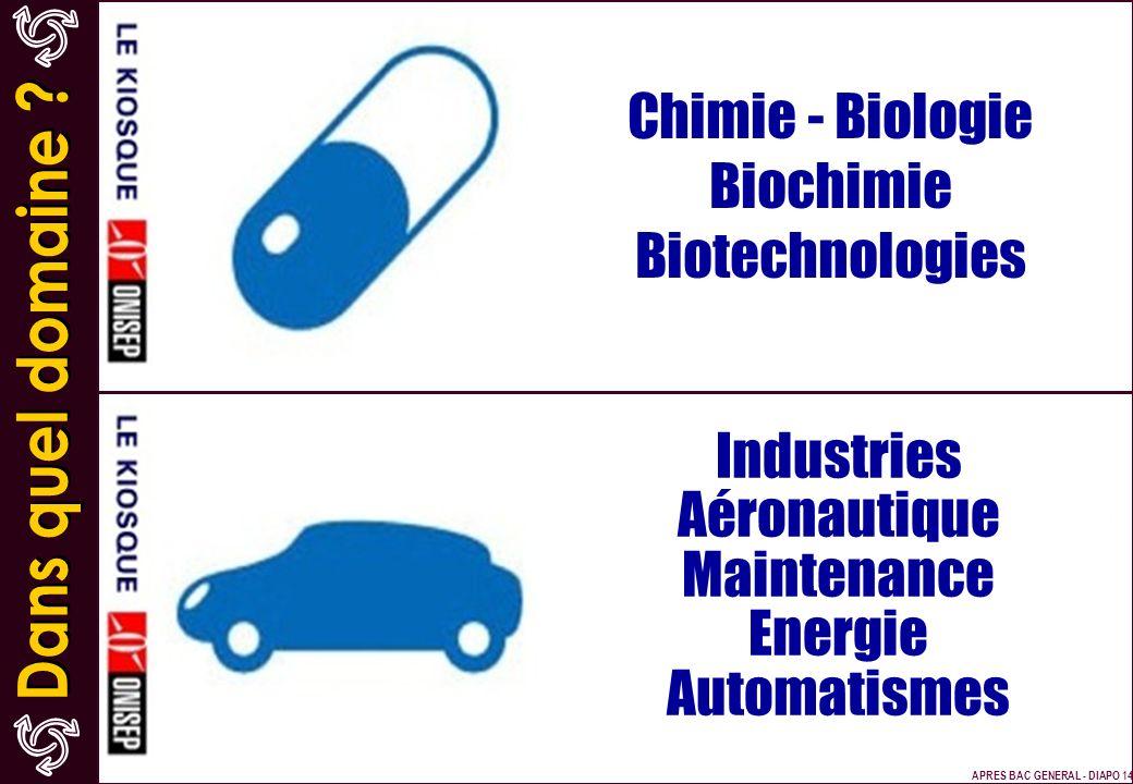 Chimie - Biologie Biochimie Biotechnologies Industries Aéronautique Maintenance Energie Automatismes APRES BAC GENERAL - DIAPO 14