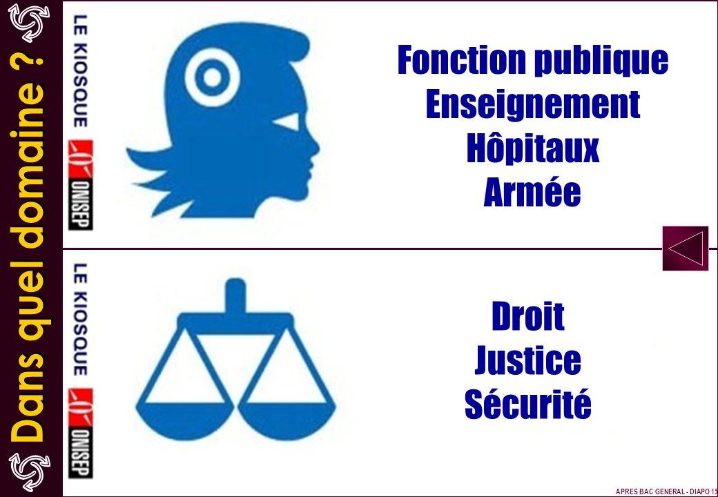 Fonction publique Enseignement Hôpitaux Armée Droit Justice Sécurité APRES BAC GENERAL - DIAPO 15