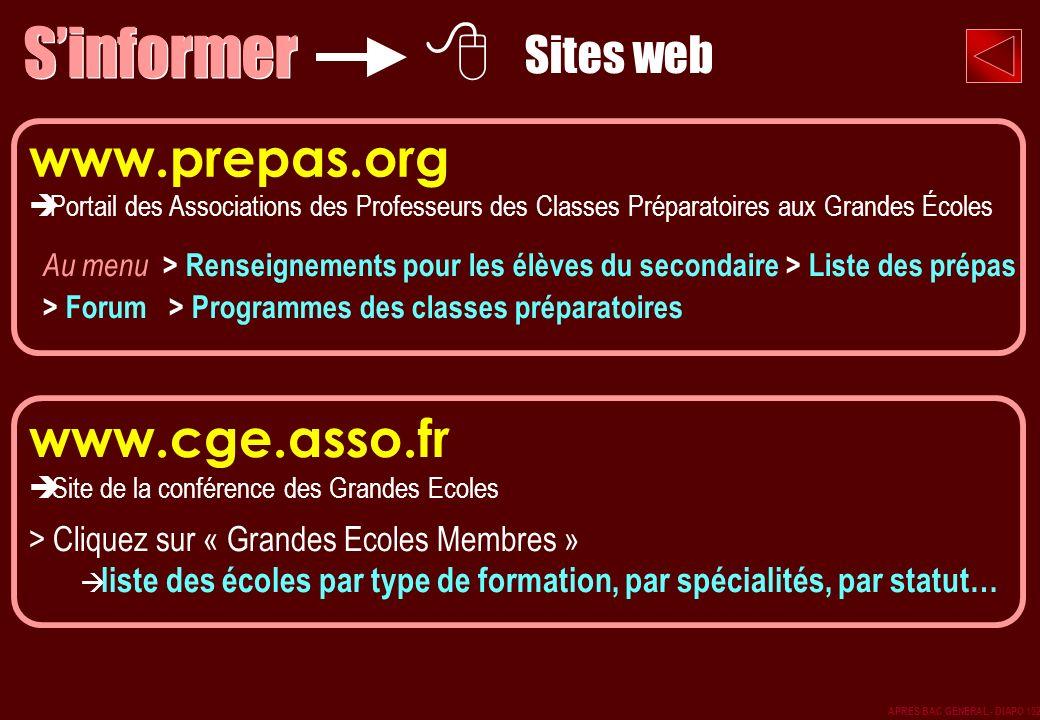 www.prepas.org Portail des Associations des Professeurs des Classes Préparatoires aux Grandes Écoles Au menu > Renseignements pour les élèves du secon